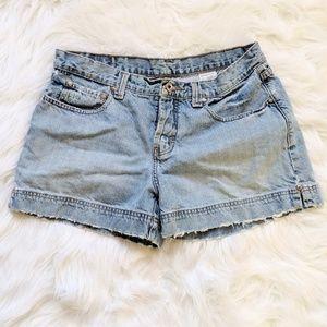 Hydraulic Worn Light Wash Jean Shorts